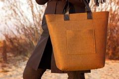 El primer del marrón sentía el bolso en mano de la mujer Imagenes de archivo