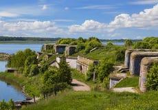 El primer fuerte septentrional en Kronstadt, un monumento al fortalecimiento ruso Construido en los mediados del siglo XIX St Pet imagenes de archivo