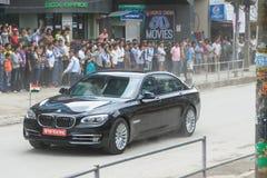 El primer ministro Narendra Modi llega en Katmandu Imagen de archivo libre de regalías