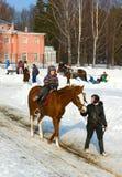 El primer paseo en un lomo de caballo Foto de archivo libre de regalías
