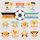 El primer premio del ganador con el equipo de fútbol de Alemania y de la Argentina Fotografía de archivo