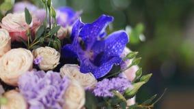 El primer, ramo de la flor en los rayos de la luz, rotación, la composición floral consiste en la orquídea Vanda, solidago almacen de metraje de vídeo