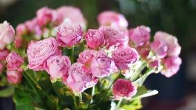 El primer, ramo de la flor en los rayos de la luz, rotación, la composición floral consiste en las rosas rosadas, belleza divina almacen de metraje de vídeo
