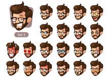 El primer sistema de emociones faciales del inconformista barbudo con los vidrios stock de ilustración