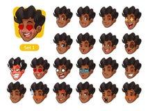 El primer sistema de las emociones faciales masculinas con el pelo rizado libre illustration