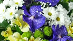 El primer, visión desde arriba, ramo de la flor en los rayos de la luz, rotación, la composición floral consiste en almacen de metraje de vídeo