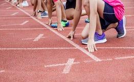 El principio para correr la carrera Foto de archivo libre de regalías