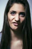 El problema depressioned adolescente con el pelo ensuciado y la cara triste, reales Imagenes de archivo
