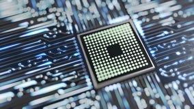 El procesador o el microchip y las señales electrónicas en la placa madre circulan metrajes