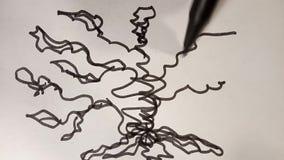 El proceso de dibujar el árbol en rotulador negro del caos videoclip ilustración del vector