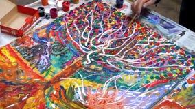 El proceso de dibujar una pintura colectiva vídeo