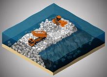 El proceso de la construcción del dique stock de ilustración