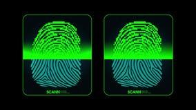El proceso de la exploración de la huella dactilar - sistema de seguridad digital, resultado dos - mate concedido y negado, alfa