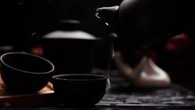 El proceso de verter té de la caldera en la taza almacen de video