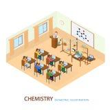El profesor dio una conferencia en la situación de la química libre illustration