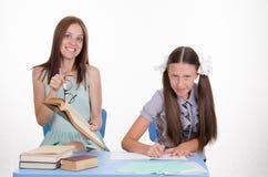 El profesor está enojado con el estudiante Imagen de archivo libre de regalías