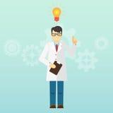 El profesor joven del científico consiguió una idea lanzamiento Imagen de archivo libre de regalías