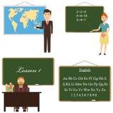 El profesor se coloca cerca del tablero con un indicador, los puntos del profesor en el mapa stock de ilustración