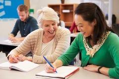 El profesor y el estudiante se sientan juntos en una clase de la enseñanza para adultos Imagenes de archivo