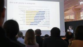 El programador de sexo femenino habla de la automatización de proceso robótica en parque de alta tecnología en Minsk, Bielorrusia metrajes