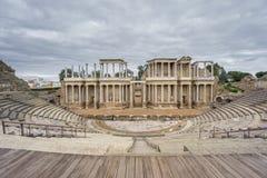 El proscenio de Roman Theatre en Mérida en España Front View Imagen de archivo