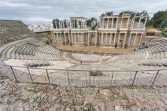 El proscenio de Roman Theatre en Mérida en España Vista lateral Imagen de archivo