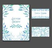 El prospecto, invitación con el espacio para el texto y plantillas de la tarjeta de visita Fotos de archivo