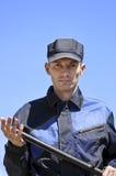 El protector de seguridad con una maza Foto de archivo