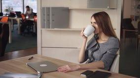 El proyecto de la conclusión de la mujer de negocios y se relaja con la taza de té metrajes