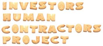 El proyecto de las palabras hecho de galletas Imagenes de archivo