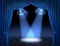 El proyector azul emite premier Fotografía de archivo