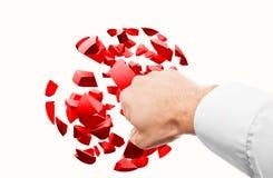 El puño masculino golpea la esfera roja 3d de la blanco Imagen de archivo libre de regalías