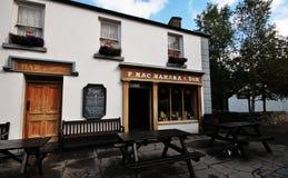 El pub y el restaurante del viejo estilo en el pueblo y la gente de Bunratty parquean Imagen de archivo libre de regalías
