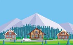 el pueblo de la cabaña stock de ilustración