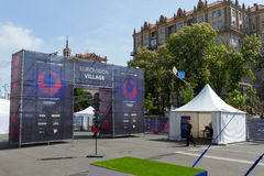 El pueblo de la Eurovisión de la zona de la fan en la calle de Kreschatik en Kiev Imagen de archivo