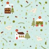 El pueblo de la Navidad contiene el modelo del vector libre illustration