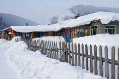 El pueblo de la nieve Foto de archivo libre de regalías
