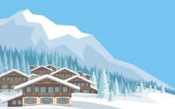 El pueblo de montaña stock de ilustración