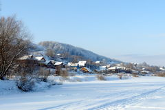 El pueblo en nieve Winter3 Foto de archivo