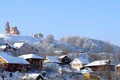 El pueblo en nieve Winter4 Imagenes de archivo