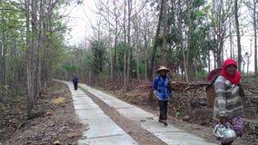 El pueblo limita el camino en límites del distrito de Sukoharjo imagen de archivo
