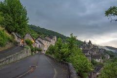 El pueblo medieval de Conques Fotos de archivo libres de regalías