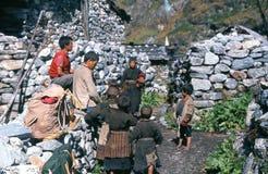 1975. Pueblo de Langtang. Nepal. Foto de archivo libre de regalías