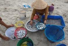El pueblo pesquero, pescadores en el pueblo pesquero sobre gente, mujeres, niño, mariscos de la vida de la parte pesquera tradici fotografía de archivo libre de regalías