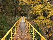 El puente amarillo, hojas de otoño Foto de archivo libre de regalías