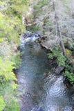 El puente de balanceo proporciona una plataforma aérea con la cual tomar las fotos de la belleza abajo fotografía de archivo
