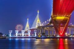 El puente de Bhumibol Fotos de archivo libres de regalías