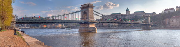 El puente de cadena de Szechenyi, Budapest Imagenes de archivo