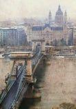 El puente de cadena en Budapest Imagenes de archivo