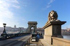 El puente de cadena famoso a través del río Danubio Buda Castle está en el fondo, Budapest, Hungría, Europa Fotografía de archivo libre de regalías